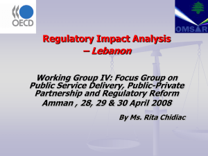 – Lebanon Regulatory Impact Analysis