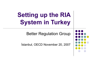 Setting up the RIA System in Turkey Better Regulation Group