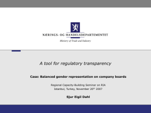 A tool for regulatory transparency Sjur Eigil Dahl