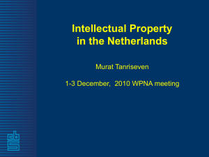 Intellectual Property in the Netherlands Murat Tanriseven 1-3 December,  2010 WPNA meeting