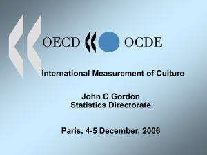 International Measurement of Culture John C Gordon Statistics Directorate Paris, 4-5 December, 2006