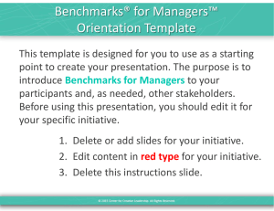 Benchmarks® for Managers™ Orientation Template