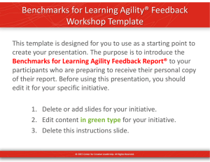 Benchmarks for Learning Agility® Feedback Workshop Template