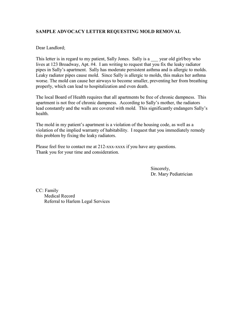 Sample advocacy letter requesting mold removal dear landlord thecheapjerseys Images