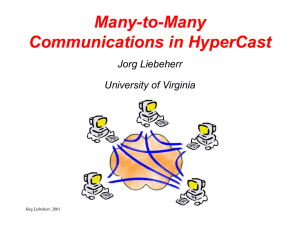 Many-to-Many Communications in HyperCast Jorg Liebeherr University of Virginia
