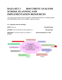 DATA SET 3 DOCUMENT ANALYSIS SCHOOL PLANNING AND IMPLEMENTATION RESOURCES