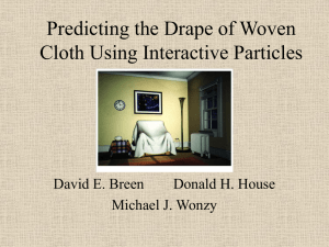 Predicting the Drape of Woven Cloth Using Interactive Particles Michael J. Wonzy