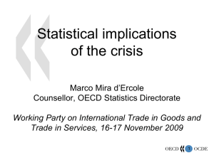 Statistical implications of the crisis Marco Mira d'Ercole Counsellor, OECD Statistics Directorate