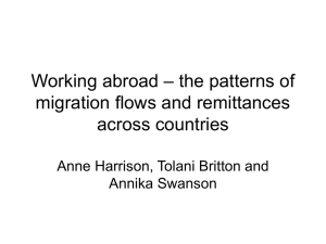 – the patterns of Working abroad migration flows and remittances across countries