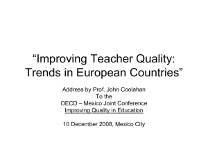 """Improving Teacher Quality: Trends in European Countries"""