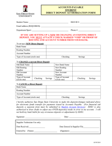 ACCOUNTS PAYABLE STUDENT DIRECT DEPOSIT AUTHORIZATION FORM