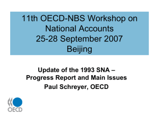 11th OECD-NBS Workshop on National Accounts 25-28 September 2007 Beijing