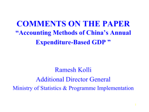 "COMMENTS ON THE PAPER ""Accounting Methods of China's Annual Expenditure-Based GDP """