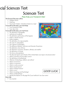 Geography and the Social Sciences Test Sciences Test