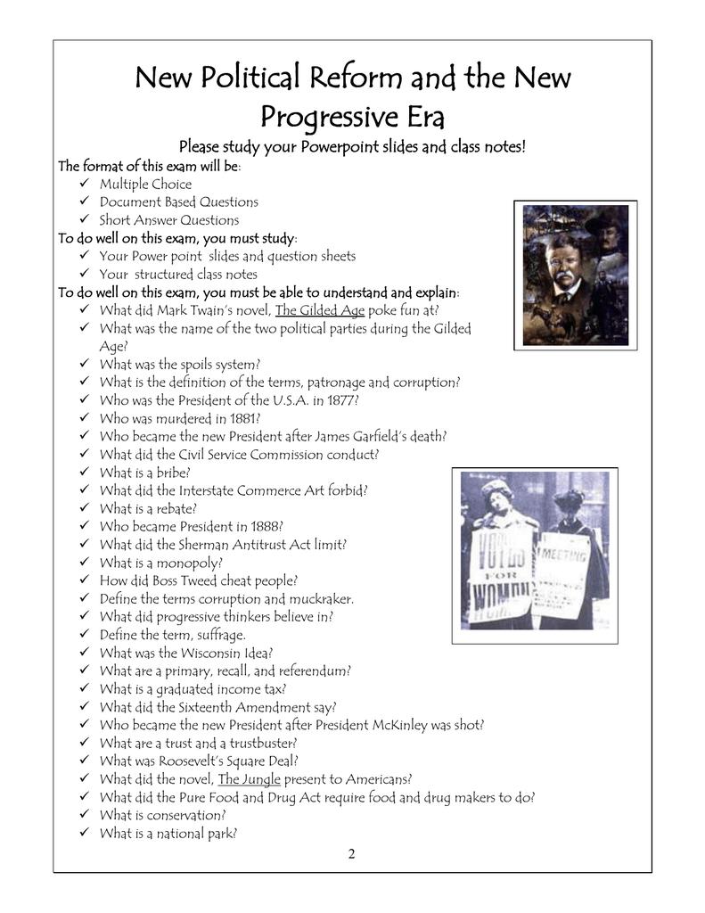 worksheet Progressive Era Worksheet new political reform and the progressive era
