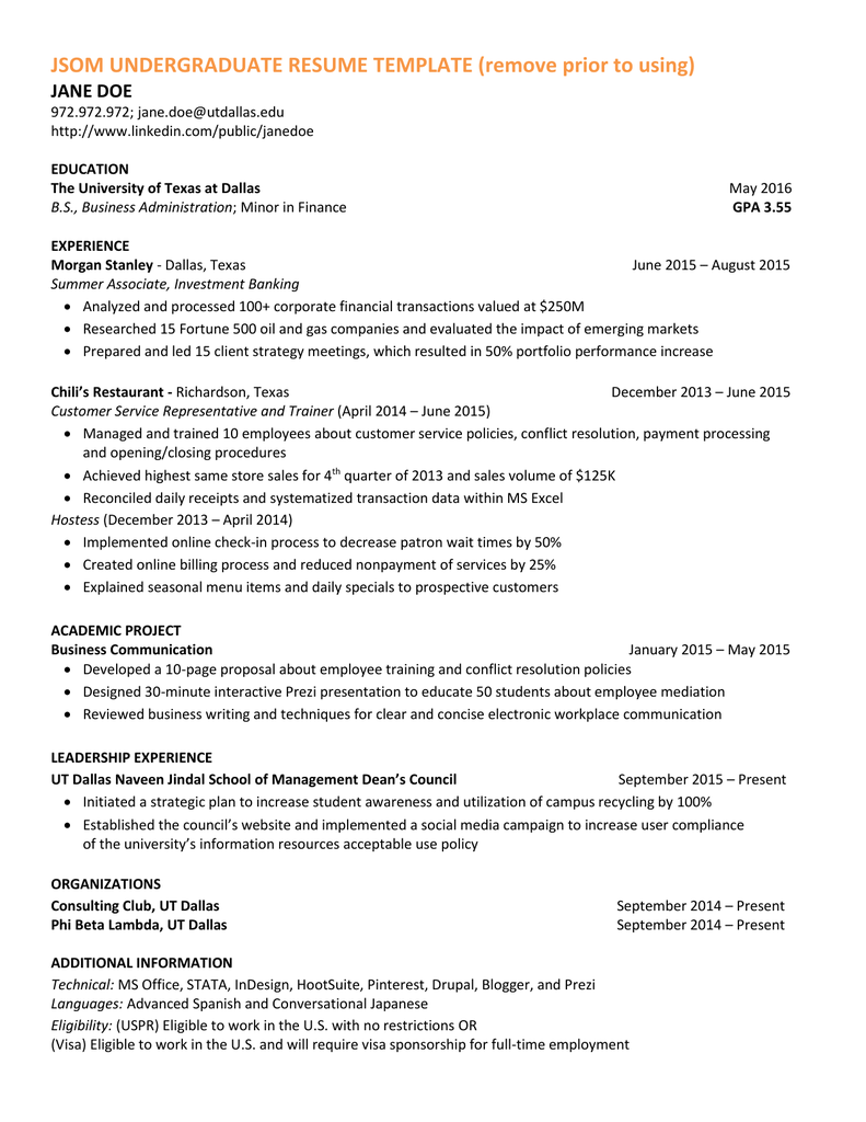 Jsom Undergraduate Resume Template Remove Prior To Using Jane Doe