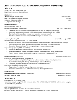 JSOM MBA/EXPERIENCED RESUME TEMPLATE (remove Prior To Using) Julia Doe  Undergraduate Resume Template
