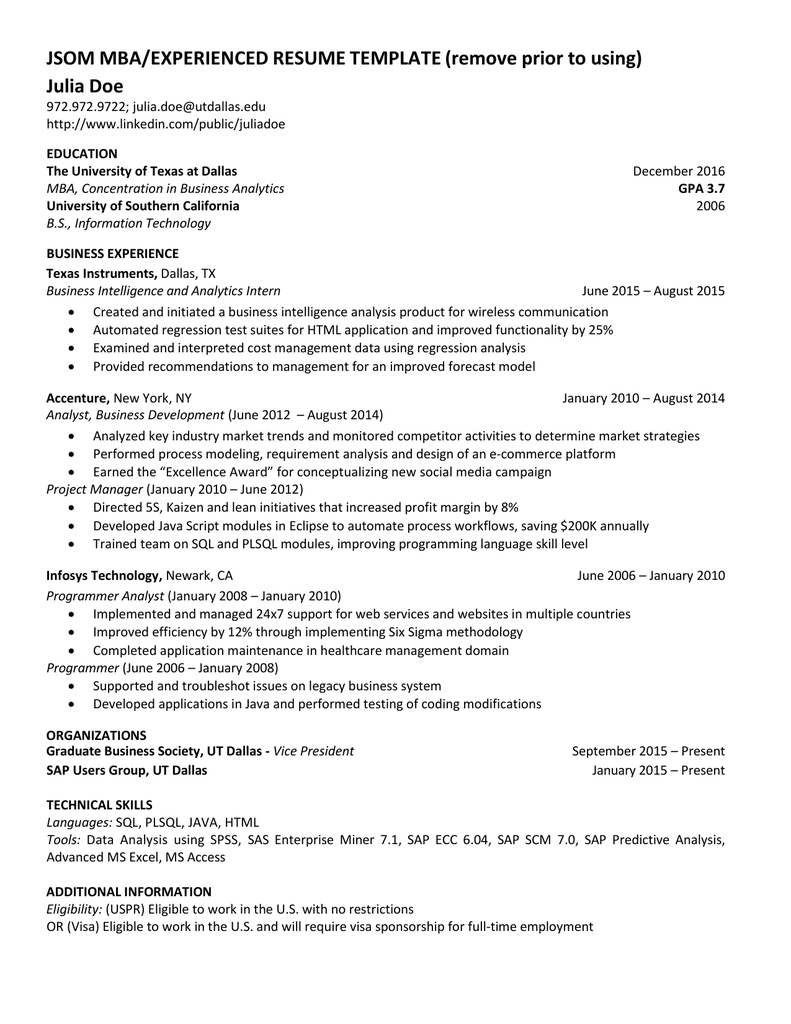 JSOM MBA EXPERIENCED RESUME TEMPLATE Remove Prior To Using Julia Doe