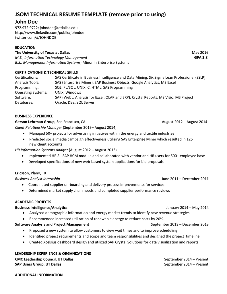 JSOM TECHNICAL RESUME TEMPLATE Remove Prior To Using John Doe
