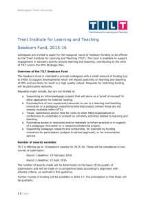 Trent Institute for Learning and Teaching Seedcorn Fund, 2015-16