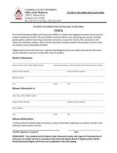 FERPA STUDENT AUTHORIZATION FOR RELEASE OF RECORDS