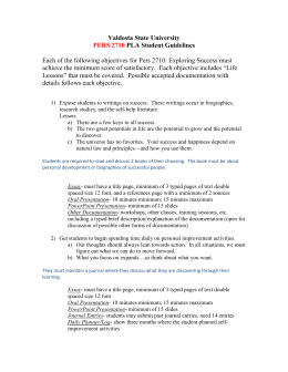 Valdosta State University PLA Student Guidelines  PERS 2710