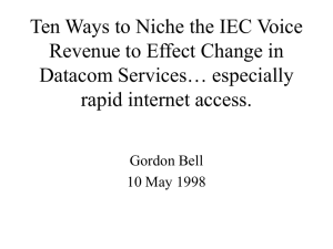 Ten Ways to Niche the IEC Voice Datacom Services… especially