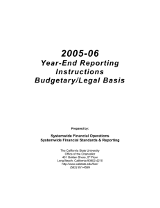 2005-06 Year-End Reporting Instructions Budgetary/Legal Basis