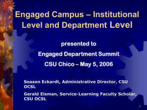 Level – Institutional Engaged Campus Level and Department