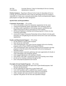 Associate Director, Center for Internships & Service-Learning Classification