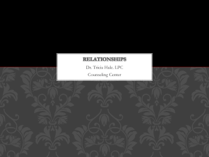 RELATIONSHIPS Dr. Tricia Hale. LPC Counseling Center