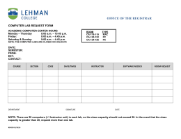 OFFICE OF THE REGISTRAR COMPUTER LAB REQUEST FORM