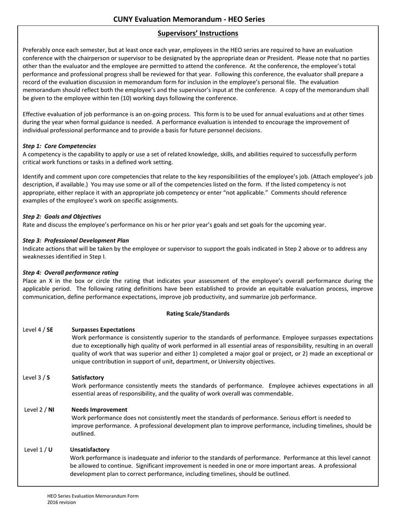 Cuny Evaluation Memorandum Heo Series Supervisors Instructions