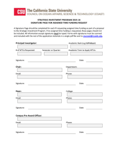 STRATEGIC INVESTMENT PROGRAM 2015-16 SIGNATURE PAGE FOR ASSIGNED TIME FUNDING REQUEST