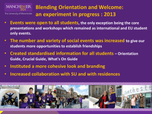 Blending Orientation and Welcome: an experiment in progress : 2013