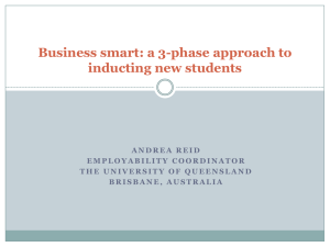 Business smart: a 3-phase approach to inducting new students