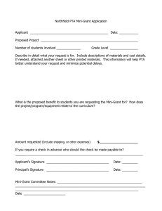 Northfield PTA Mini-Grant Application Applicant  _____________________________________________  Date: ___________