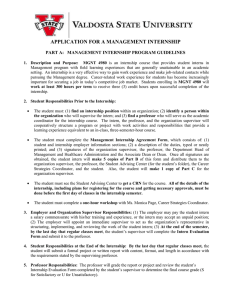APPLICATION FOR A MANAGEMENT INTERNSHIP