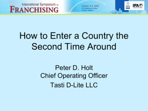 How to Enter a Country the Second Time Around Peter D. Holt