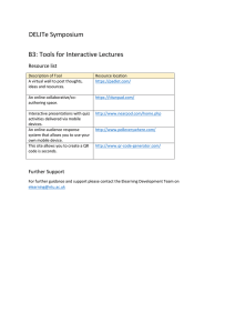 DELITe Symposium B3: Tools for Interactive Lectures Resource list