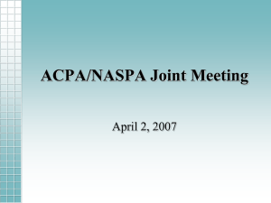 ACPA/NASPA Joint Meeting April 2, 2007