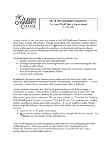Child Development Department Lab and Field Work Agreement
