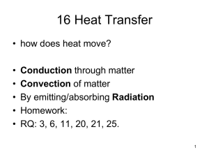 16 Heat Transfer • how does heat move? Conduction Convection