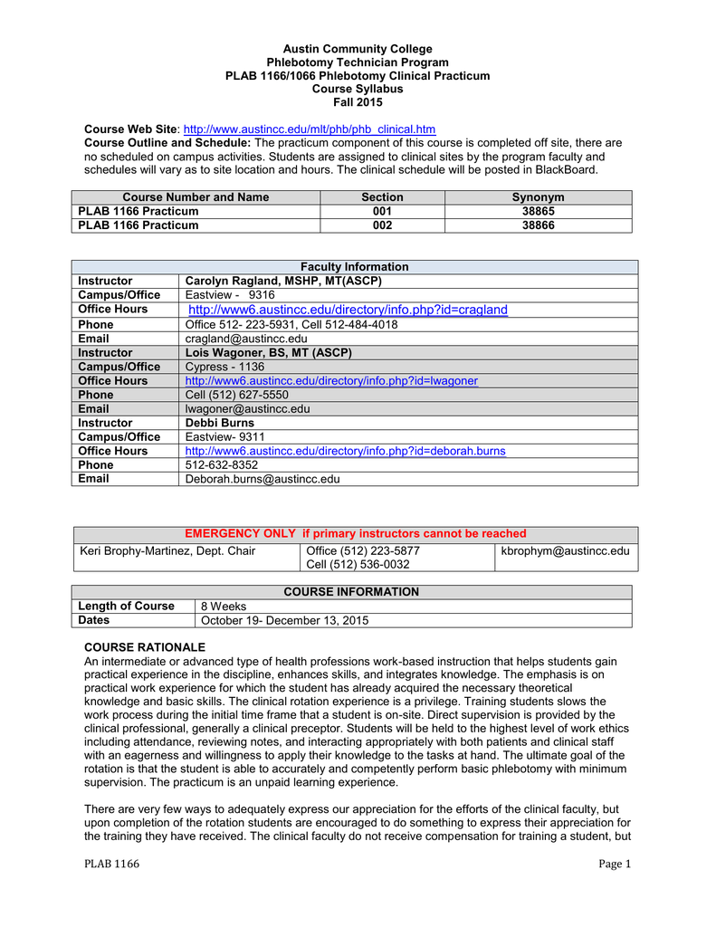 austin community college phlebotomy technician program plab 1166 rh studylib net