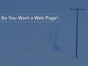 So You Want a Web Page!