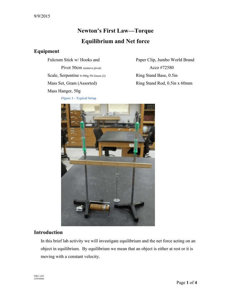 Newton S First Law Torque Equilibrium And Net Force Equipment