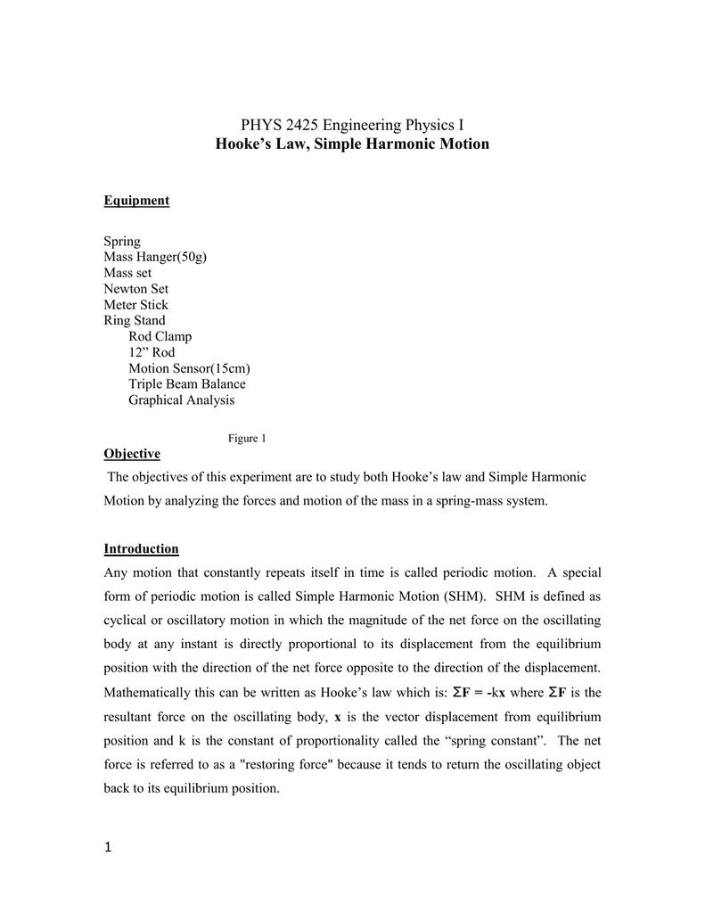 Phys 2425 Engineering Physics I Hookes Law Simple Harmonic Motion