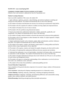 MATH 1332   Last revised Spring 2012  Student Learning Outcomes: