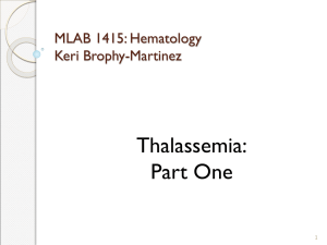 Thalassemia: Part One MLAB 1415: Hematology Keri Brophy-Martinez