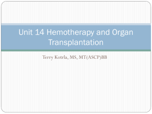 Unit 14 Hemotherapy and Organ Transplantation Terry Kotrla, MS, MT(ASCP)BB
